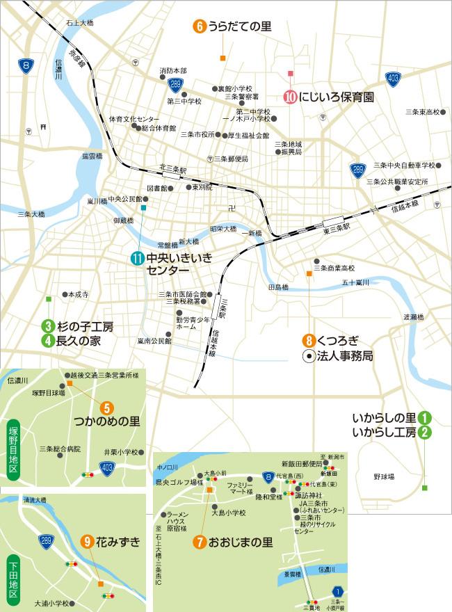 運営施設の周辺マップのイメージ